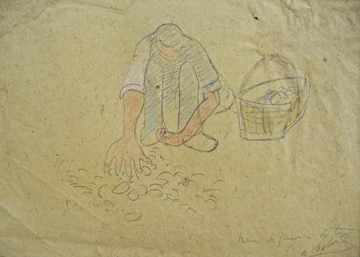 Auguste CHABAUD - Drawing-Watercolor - LE RAMASSEUR DE POMMES DE TERRE