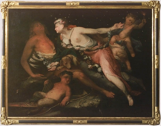 "Jean-Baptiste DE CHAMPAIGNE (Attrib.) - Pittura - ""Luna and Endymion"", 17th Century, Oil on Canvas"
