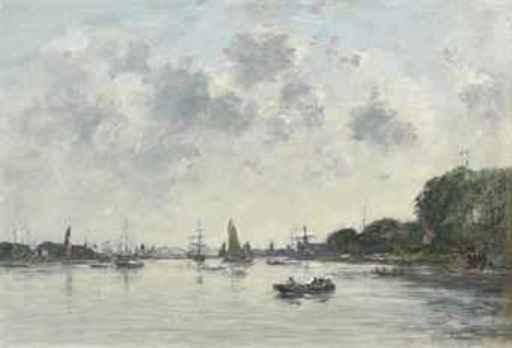 Eugène BOUDIN - Painting - Dordrecht, la Meuse