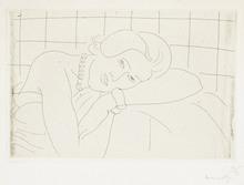 Henri MATISSE (1869-1954) - Figure, tête reposant sur le bras gauche