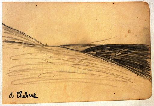 Auguste CHABAUD - Dessin-Aquarelle - La Montagnette