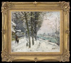Pierre Eugène MONTEZIN (1874-1946) - Promenade en Bord de Rivière sous la Neige