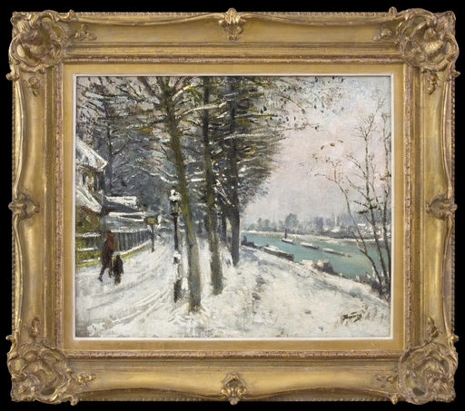 Pierre Eugène MONTEZIN - Peinture - Promenade en Bord de Rivière sous la Neige