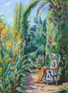 Henri MANGUIN - Painting - Odette dans le jardin de l'Oustalet