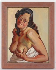 "Josef LACINA - Painting - ""Female Nude (Artist's Wife)"", 1950s, Oil"