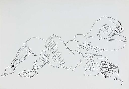 Gustav HESSING - Dibujo Acuarela - Liegender Akt