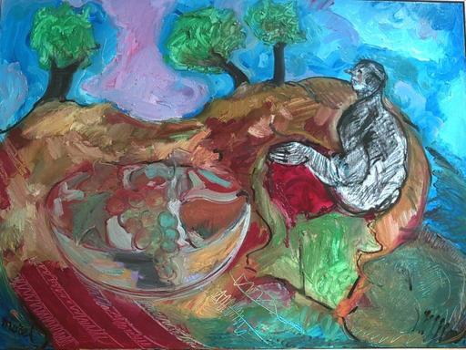Bernard MOREL - Pintura - CORBEILLE DE FRUITS