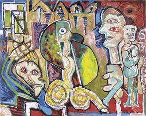 LUCEBERT - Gemälde - De uren en hun buren (Les heures et leurs voisins)