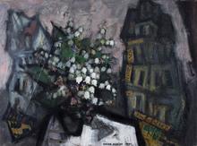 Oskar RABIN - Painting - Bouquet de Fleurs dans un Paysage Urbain