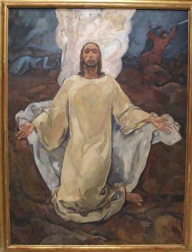 "Karl BORSCHKE - Painting - ""Christ on the Mount of Olives"" by Karl Borschke, ca 1930"