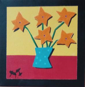 Harry BARTLETT FENNEY - Painting - five orange flowers