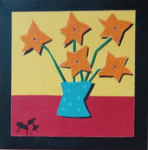 Harry BARTLETT FENNEY - Pittura - five orange flowers