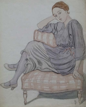 "Anton Josef STORCH - Drawing-Watercolor - ""Seated Girl"" by Anton Josef Storch"