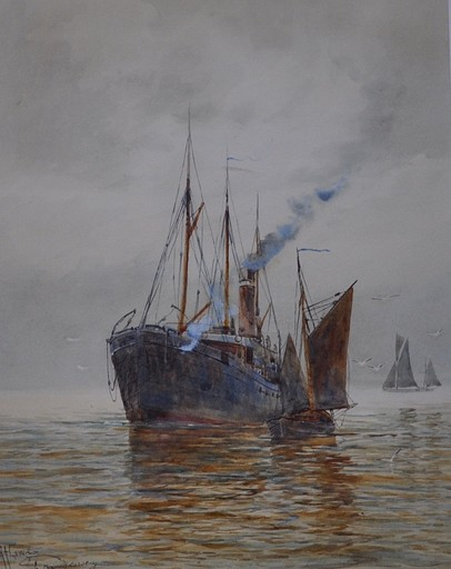 Robert Allensmore LOWE - Dibujo Acuarela - In the Medway