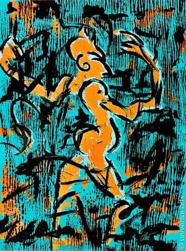 Jacqueline DITT - Estampe-Multiple - Teufel an der Wand (Devil on the Wall) 1/1 Originalgrafik  U