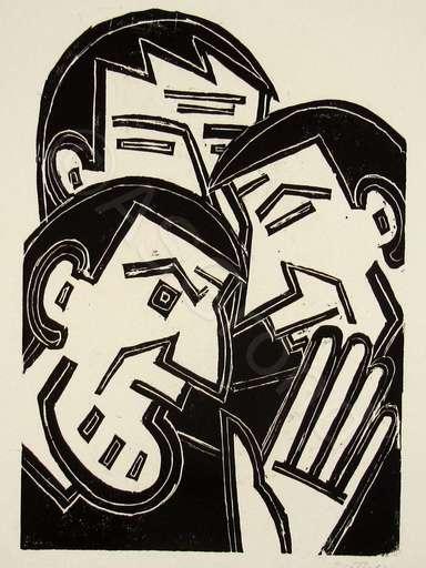 Werner GOTHEIN - Print-Multiple - Drei Männer im Gespräch