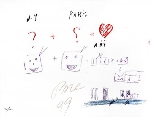NAM JUNE PAIK & MOORMAN - Druckgrafik-Multiple - NY + Paris = Art
