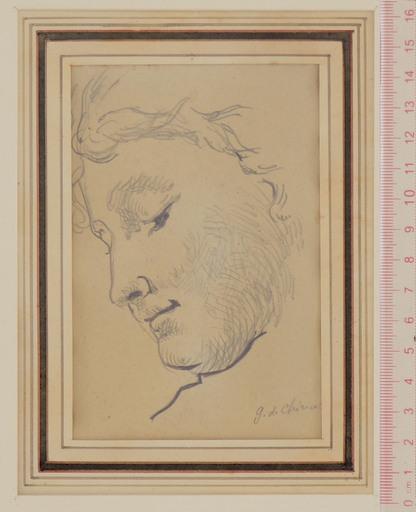 Giorgio DE CHIRICO - Disegno Acquarello - Young Woman in Profile