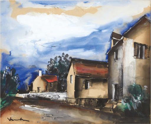 Maurice DE VLAMINCK - Drawing-Watercolor - La ruelle