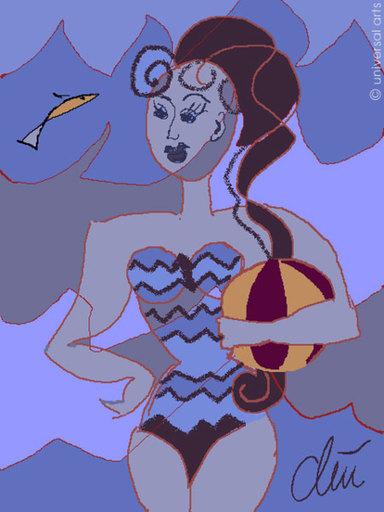 Jacqueline DITT - Estampe-Multiple - Wellenbad (Bath between Waves)  - Grafik / graphic ltd. Edit