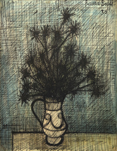 Bernard BUFFET - Drawing-Watercolor - Fleurs dans un vase