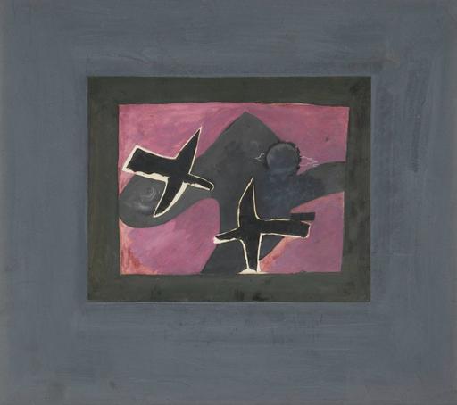Georges BRAQUE - Dibujo Acuarela - Les deux oiseaux noirs