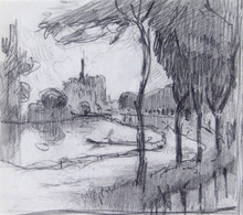 Robert Antoine PINCHON - Dibujo Acuarela - Pont de l'Arche