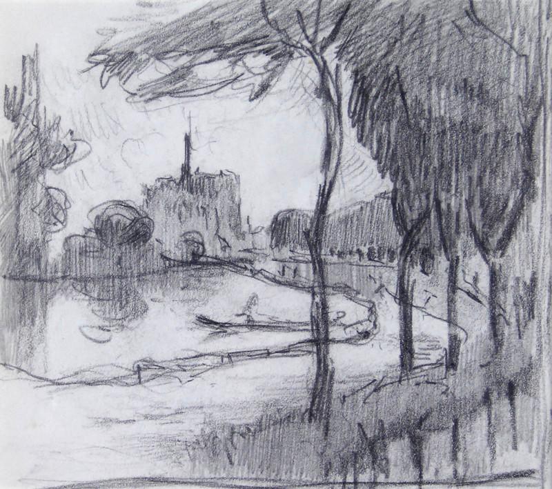 Robert Antoine PINCHON - Dessin-Aquarelle - Pont de l'Arche