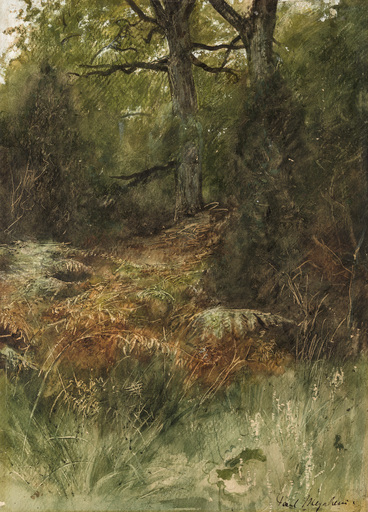 Paul Friedrich MEYERHEIM - Drawing-Watercolor - Waldinneres