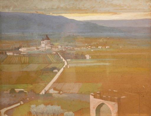 Norberto PAZZINI - Pintura - Visione Santa maria degli Angeli Assisi