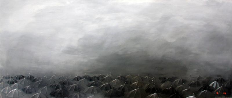 Zurab GIKASHVILI - Gemälde - Umbrellas