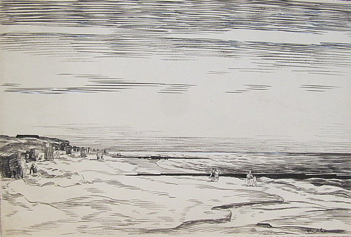Paul MECHLEN - Drawing-Watercolor - Strand am Sommertag (Sylt)