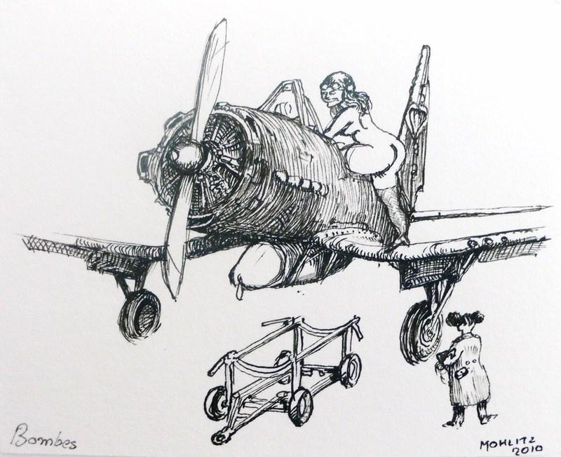 "Philippe MOHLITZ - Dibujo Acuarela - ""Bombes"""