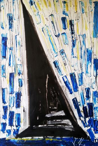 Vesna KRSMANOVIC - Painting - Blue Splash    (Cat N° 5300)