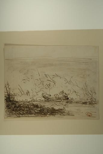 Félix ZIEM - Drawing-Watercolor - Gondole sur une mer agitée