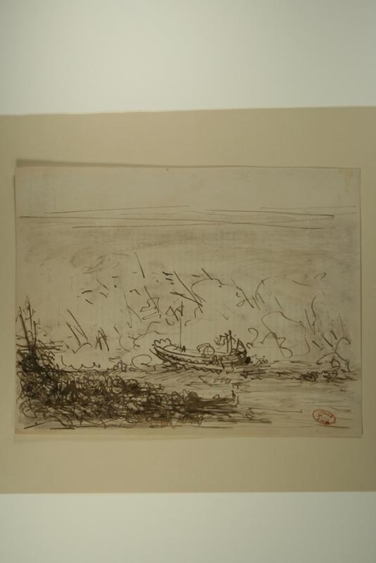 Félix ZIEM - Dessin-Aquarelle - Gondole sur une mer agitée