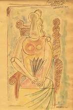 Mario CARREÑO - Dibujo Acuarela - Mujer con Abanico