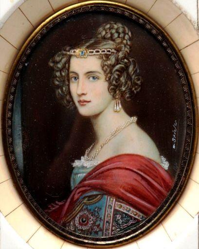 Josef Karl STIELER - Miniatura - c. 1831 Portrait of Amalie von Schintling