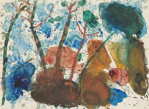 Gustav HESSING - Dibujo Acuarela - Landschaft mit Bäumen