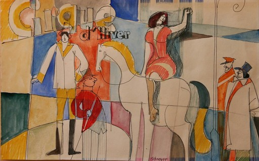 David SCHNEUER - Drawing-Watercolor - Cirque d'Hiver