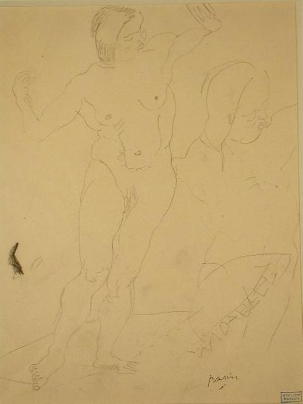 Jules PASCIN - Drawing-Watercolor - Two Dancing Figures