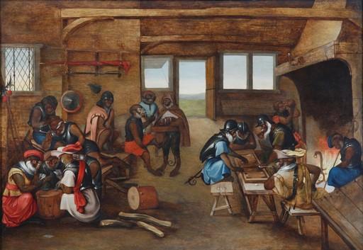 """Martin VAN CLEVE - Peinture - """"Soldaten-Affen in einer Wachstube"""""""