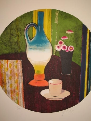 René GENIS - Estampe-Multiple - Nature morte et tasse à café,1992.