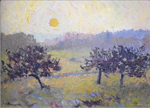 Albert MALET - Pittura - Pommiers soleil couchant