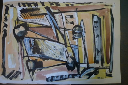 Joseph LEVIN - Drawing-Watercolor - Composition abstraite 1