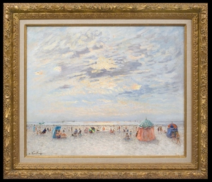 André HAMBOURG - Peinture - Temps Calme, Début Septembre, à Trouville