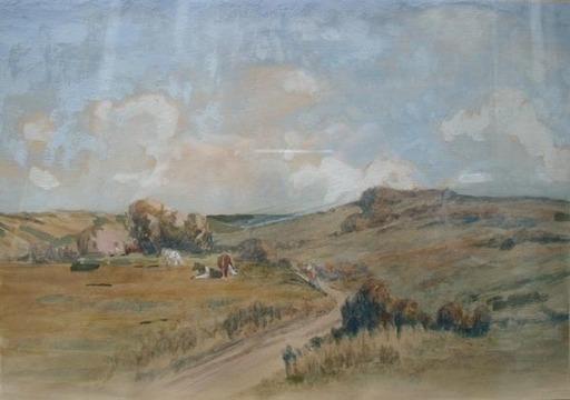 Jules CROSNIER - Dibujo Acuarela - paysage aux vaches
