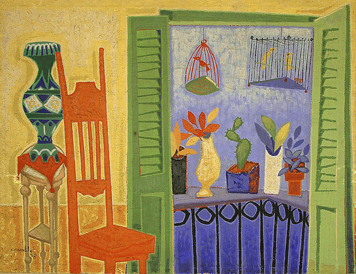 Carmelo GONZALEZ - Peinture - Interior con Balcón (Interior with Balcony)