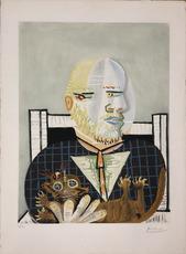巴勃罗•毕加索 - 版画 - Vollard et son Chat