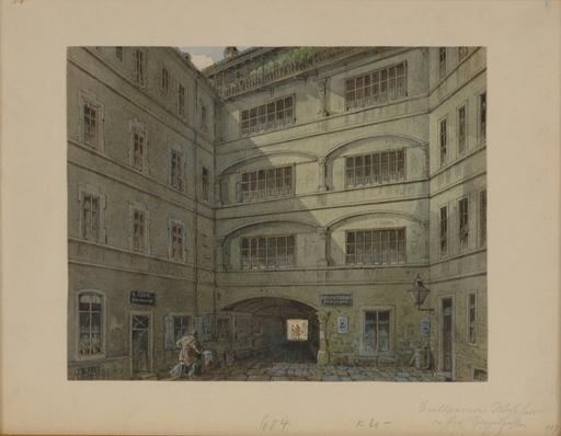 """Johann Wilhelm FREY - Dibujo Acuarela - """"Grillparzer's Last Residence"""", Late 19th Century"""